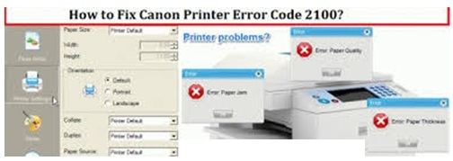 canon printer error code 2100